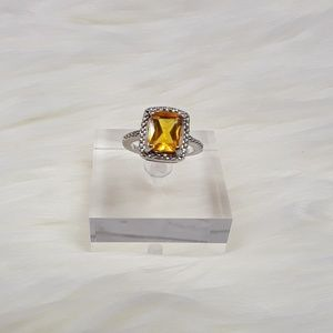 Jewelry - Sterling Silver Plated Yellow Topaz Ring